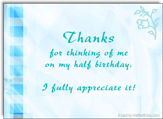 Half Birthday Thank You Note