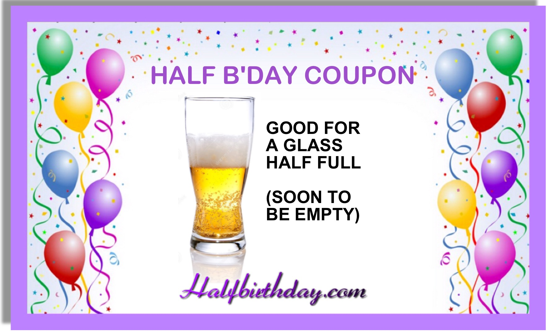Half Glass of Beer Coupon