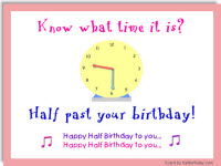 halfbirthday  half birthday party ideas, gifts, ecards, Birthday card